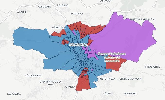 voto por barrios y distritos de Granada elecciones generales 20D