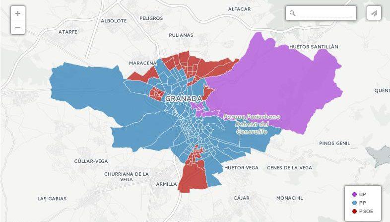 elecciones 26j voto por barrios y distritos granada capital